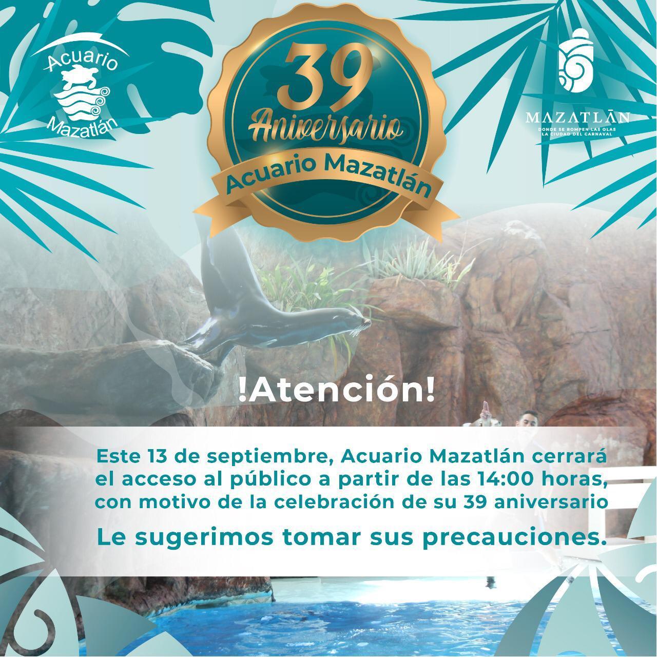 Celebra con Acuario Mazatlán su 39 aniversario y aprovecha el último día de descuentos