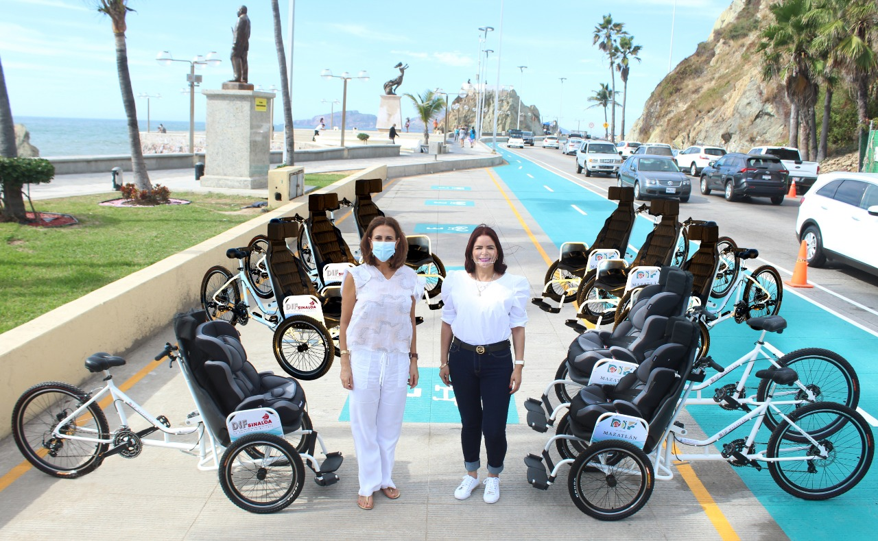 DIF Mazatlán implementa proyecto de Tricicletas para personas con discapacidad en el Malecón
